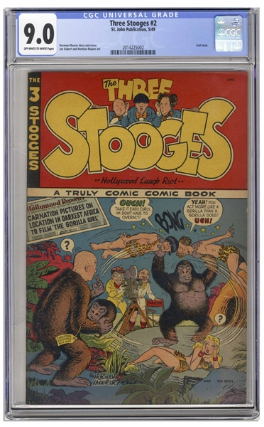 The Three Stooges 1949 #2 Comic, Slabbed & Graded 9.0 by CGC -- Second Appearance of The Three Stooges in Comic Book