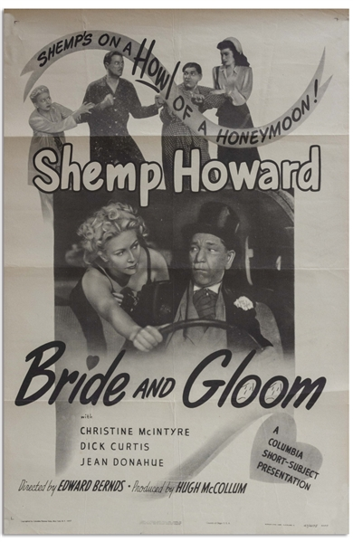 27'' x 41'' One-Sheet Poster for ''Bride and Gloom'' Starring Shemp Alone, Columbia 1947 -- NSS# 47/4175 -- Shallow Folds & a Few Small Nicks to Margins, Else Near Fine