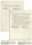 Moe Howard Lot of Two 7pp. Contracts From March 1958, Allowing Norman Maurer to Produce Three Stooges Movies -- Maurers Copy Additionally Initialed by Moe Throughout -- 8.5 x 11, Both Near Fine