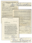 Lot of 2 Moe Howard Signed Contracts From 1958: 1pp. Regarding Merchandising Rights, & 2pp. (1 Sheet) AGVA Contract Signed The 3 Stooges / By Moe Howard (owner) -- 8.5 x 11, Very Good