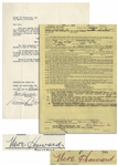 Two 1961-62 Contracts Signed by Moe Howard -- One 8.5 x 11 Signed Regarding a Stooges Song; Other 8.5 x 17 Signed Regarding a Three Stooges Performance -- Very Good Condition