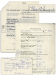 Contracts Signed by Moe Howard, Autograph Note Signed by Moe, & Other Three Stooges Documents