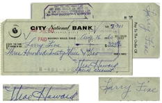 Moe Howard Check Signed to Larry Fine, Dated August 1960 -- Not Endorsed by Larry -- Very Good Condition