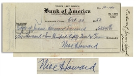 Moe Howard Signed Check to the Curly Howard Estate -- Filled Out by Moe, Estate of Jerome Howard Deceased, Dated 30 October 1953 -- Very Good Plus Condition
