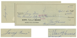 Moe Howard Check Signed to Larry Fine & Endorsed by Larry on Verso, Dated 8 April 1960 -- 8.25 x 3 -- Very Good