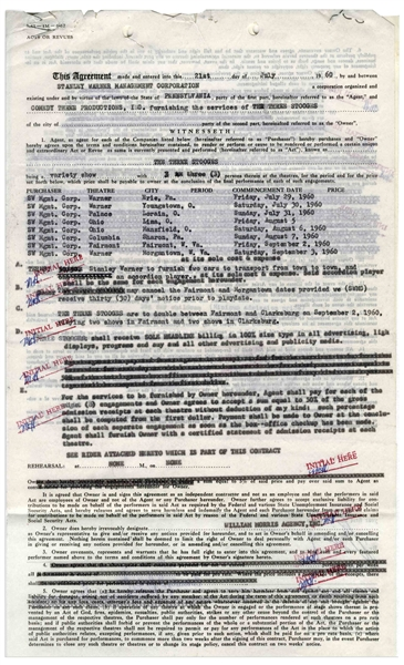 Moe Howard Twice-Signed Agreement From July 1960 Regarding The Three Stooges' Stage Performances -- Also Initialed Numerous Times by Moe -- 2pp. Measures 8.5'' x 14'' & 8.5'' x 12.5'' -- Very Good