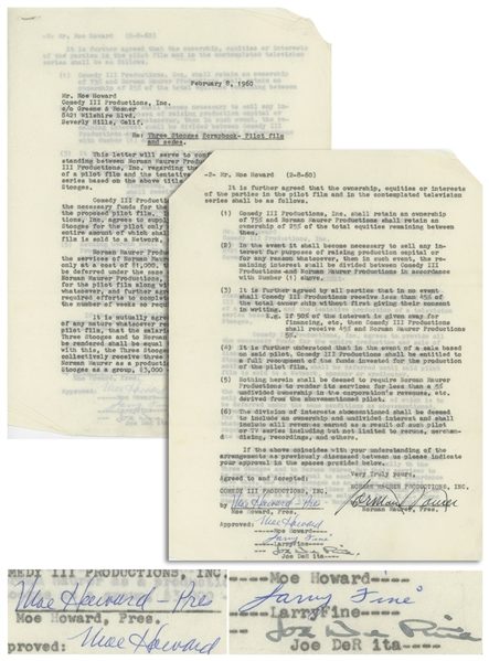 Three Stooges Signed February 1960 Agreement Regarding ''Three Stooges Scrapbook'' -- Signed Twice by Moe Howard & Also Signed by Larry Fine & Joe DeRita -- 2pp. Measures 8.5'' x 11'' -- Very Good