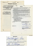 Three Stooges Employment Contract for The Outer Space Picture, Dated March 1959 -- Signed Moe Howard, Larry Fine & Joe DeRita -- 28pp. Contract Measures 8.5 x 11 -- Very Good to Near Fine