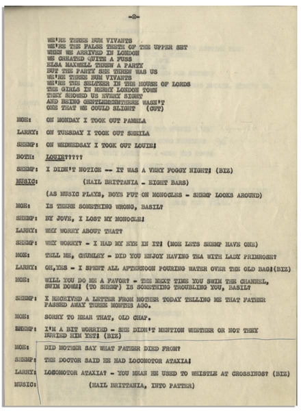 Moe Howard's 6pp. Script for the Comedic Sketch ''We're Three Bum Vivants'', With Shemp, Circa Early 1950s -- Annotated by Moe -- Pages Stapled at Side Measure 8.5'' x 11'' -- Very Good Condition