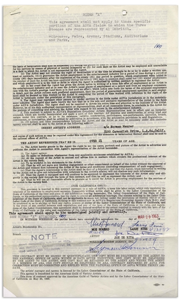 The Three Stooges Contract Signed by Moe Howard, Larry Fine & Joe DeRita From March 1963 With William Morris Agency -- 2pp. on 1 Sheet Measuring 8.5'' x 13.75'' -- Very Good