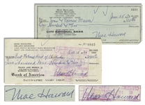 Moe Howard Lot of Two Checks Signed, One Dated 15 October 1960 Measuring 7 x 3.25 -- Second Check Made Out to His Daughters Family, Dated 25 June 1973 and Measuring 8.25 x 3 -- Very Good