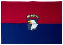 Scarce 101st Airborne Division Flag From WWII -- One of the Few Field Expedient Flags That Survived the War, With Provenance Attributing it to General Maxwell Taylor