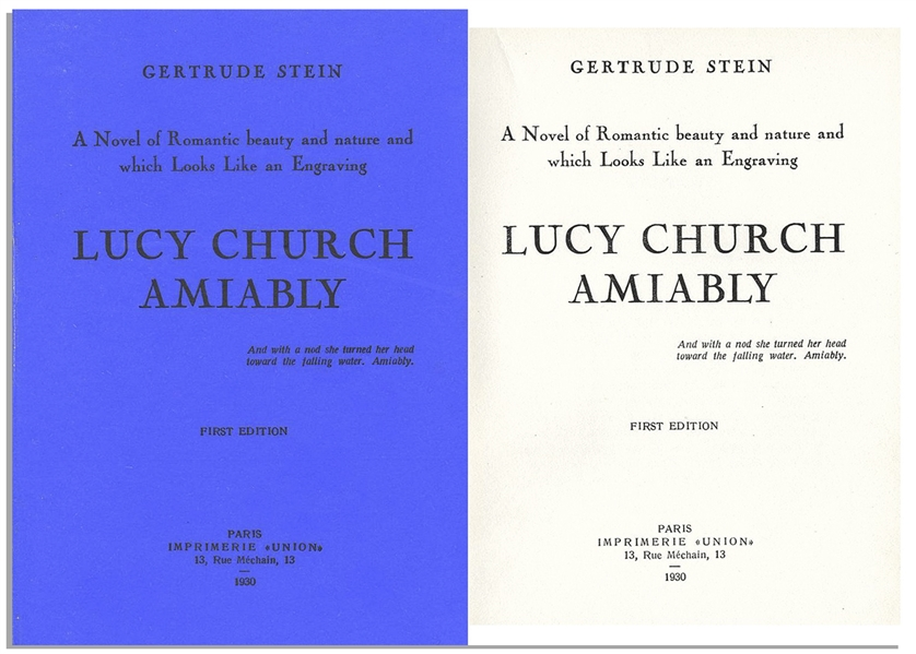 Gertrude Stein's ''Lucy Church Amiably'' First Edition -- Scarce Book by the Author Who Coined the Term ''Lost Generation''