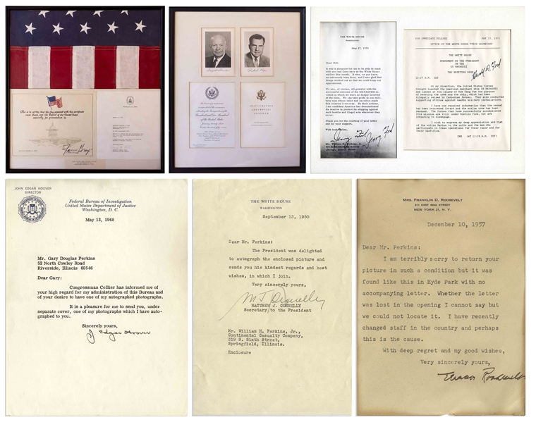 Large Lot of Presidential Signed Photos & Memorabilia - From Harry Truman to George H.W. Bush, Including U.S. Flag That Flew Over the Capitol on the Day of Gerald Ford's Inauguration