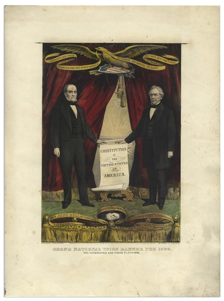 The Scarcest of 19th Century Campaign Banners Hand-Colored by Currier and Ives -- The John Bell and Edward Everett Jugate Banner Broadside for the 1860 Presidential Election
