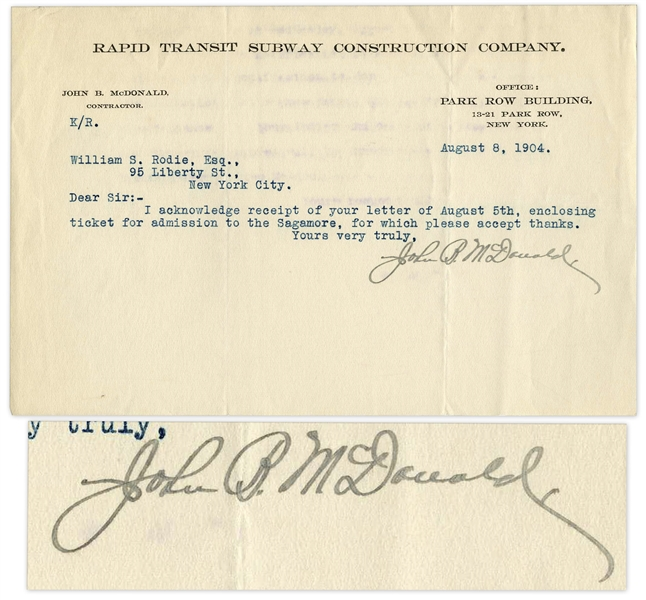 Autograph Letter Signed by John B. McDonald, Visionary Creator of the New York Subway System