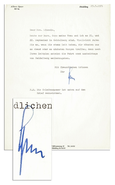 Albert Speer Typed Letter Signed -- Shortly After His Release From Prison