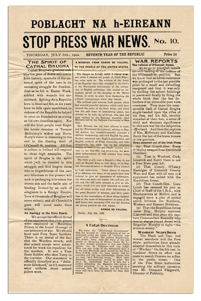 Irish Civil War Broadside Printed by Eamon de Valera's IRA -- Appealing to the United States: ''...The dark hours that succeeded 1776 won for America the proud position she now enjoys...''