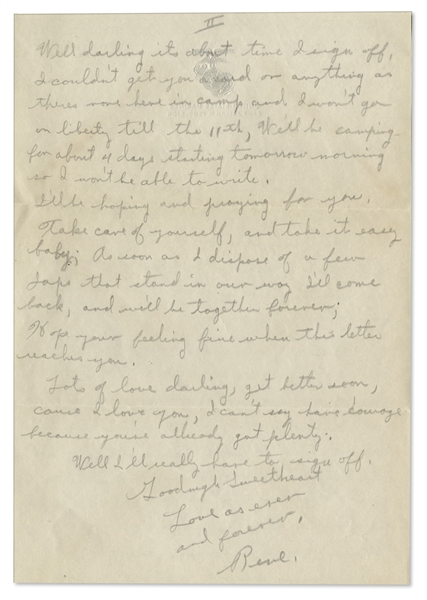 Rene Gagnon WWII Autograph Letter Signed -- ''...Hollywood isn't so nice in Wartime...When it comes to courage baby, the Marines haven't anything on you...''