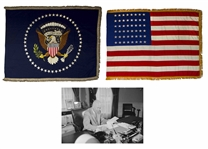 Extremely Scarce Set of Oval Office Flags, the 48-Star Flags Displayed in President Dwight D. Eisenhowers Oval Office in the White House -- 1 of 3 Known Sets From All U.S. Presidents in Private Hands