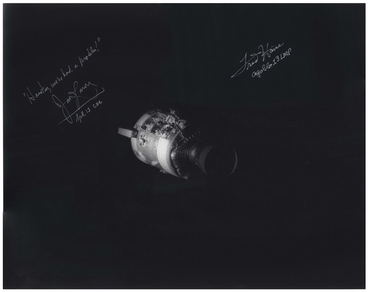 Fred Haise and James Lovell Signed 20 x 16 Photo of Apollo 13's Damaged Service Module -- Lovell Adds, Houston, we've had a problem!