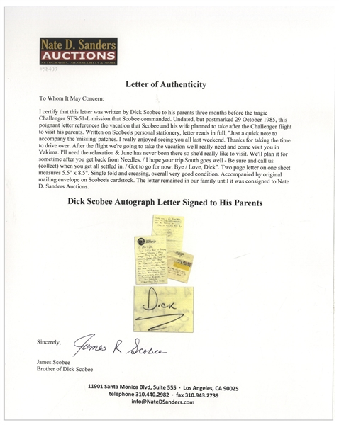 Dick Scobee Autograph Letter Signed to His Parents, Three Months Before the Challenger Disaster -- ''...After the flight we're going to take the vacation we'll really need...''
