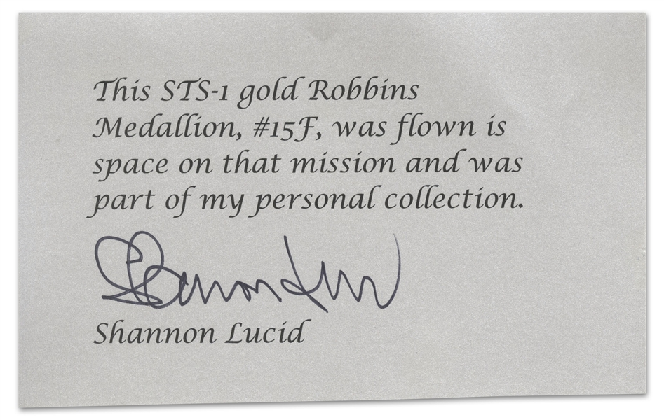 Gold Robbins Medal #15F, Flown on Columbia STS-1 -- Owned by Astronaut Shannon Lucid