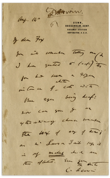 Charles Darwin Autograph Letter Signed With Evolution Related Content -- ''...you had seen a dozen instances of white cats with blue eyes being deaf...''