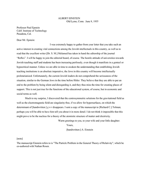 Albert Einstein Letter Signed in 1935 -- ''The hostile attitude of universities towards Jewish teaching staff and students has been increasing...similar to the German Jews in the time before Hitler''