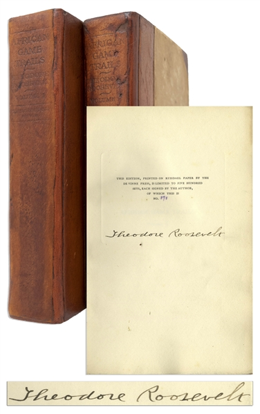 Theodore Roosevelt Signed Limited First Edition of ''African Game Trails'' -- Both Volumes Present in Original Leather Bindings