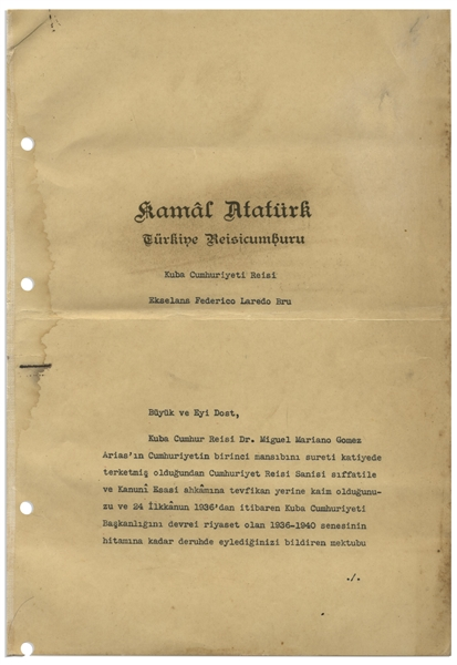 Rare Document Signed by the Founder of the Republic of Turkey and Its First President, Mustafa Kemal Ataturk