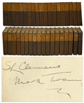 Mark Twain Signed The Works of Mark Twain -- Signed Both S.L. Clemens / Mark Twain in the First Volume -- Complete 37 Volume Set With Rare Autobiography Volumes