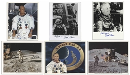 Lot of 6 Astronaut Signed 8 x 10 Photos -- Includes Jim Irwin, Charlie Duke, Charles Conrad, John Glenn & Ed Mitchell -- Irwin Writes His Love From the Moon on His Signed Photo