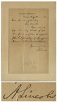 Abraham Lincoln Autograph Letter Signed as President -- Lincoln Intercedes on Behalf of an Illinois Student for a Spot at Annapolis