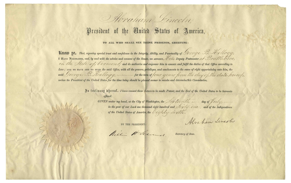 Abraham Lincoln Document Signed as President -- With Full ''Abraham Lincoln'' Signature