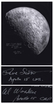 Al Worden & Dave Scott Signed 16 x 20 Photo of the Moon -- Worden Additionally Writes His Famous Quote About Seeing Earth From the Moon