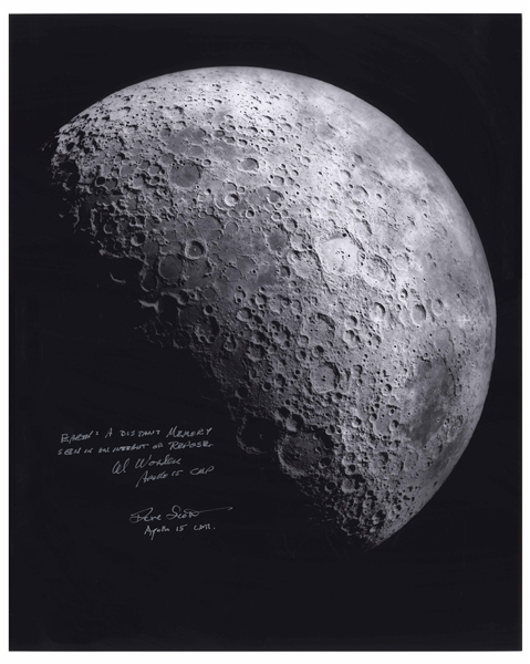 Al Worden & Dave Scott Signed 16'' x 20'' Photo of the Moon -- Worden Additionally Writes His Famous Quote About Seeing Earth From the Moon