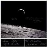 Al Worden & Dave Scott Signed 20 x 16 Photo of the Earth From a Lunar Vantage Point -- Worden Additionally Writes Earth: A distant memory seen in an instant of repose