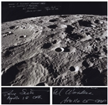 Al Worden & Dave Scott Signed 20 x 16 Photo of the Moons Surface -- Worden Additionally Writes His Famous Quote About Seeing Earth From the Moon