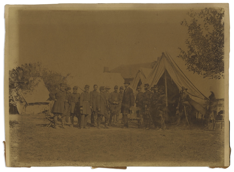 The Famous Civil War Photograph, ''Lincoln at Antietam'' -- Albumen Print by Alexander Gardner Measures 9'' x 6.75''