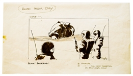 Early Concept Art for Alien, Done in 1977 -- Depicting the Scene Where the Characters Kane, Dallas and Lambert First Encounter the Derelict Alien Ship on Moon LV-426