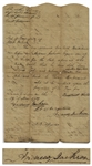 Andrew Jackson Document Signed as Judge of the Tennessee Supreme Court