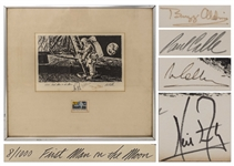 Apollo 11 Crew Signed Limited Edition of the Famous Paul Calle Artwork First Man on the Moon -- #8 in the Limited Edition, Signed by Neil Armstrong, Buzz Aldrin & Michael Collins