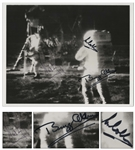Exceptional Apollo 11 Crew Signed 10 x 8 NASA Photo of Armstrong & Aldrin on the Moon -- Near Fine With Bold, Uninscribed Signatures -- With Steve Zarelli COA