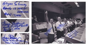 Jubilant Apollo 13 Photo Signed by the the Flight Directors -- Photo Measures 20 x 16, With Beckett COA