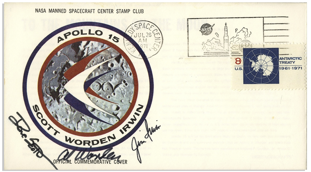 Apollo 15 Crew Signed NASA Insurance Cover -- From Al Worden's ''Personal Collection'', as Written by Him, and Also With His Signed COA