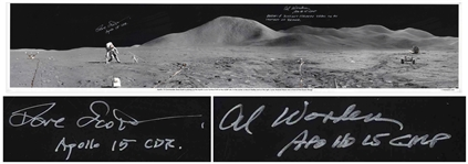 Al Worden & Dave Scott Signed Panoramic 40.5 x 8.5 Photo of the Moons Surface -- Worden Additionally Writes His Famous Quote About Seeing Earth From the Moon