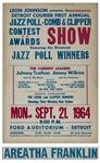 Aretha Franklin Concert Poster at Detroits Ford Auditorium in 1964 -- Misspelled Areatha