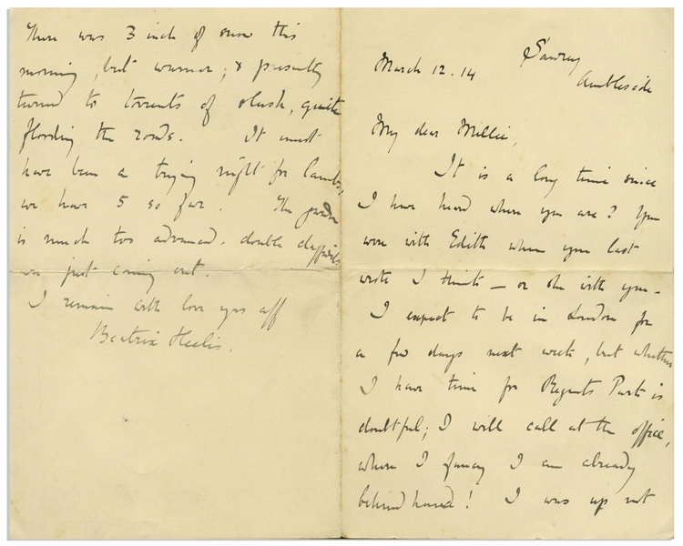 Beatrix Potter Autograph Letter Signed, Regarding the Ill Health of Her Father -- ''...He is too old for any operation - 81 - and it is thought kindest to let him alone...''