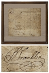 Benjamin Franklin Land Grant Signed for Turkey Hill, Pennsylvania